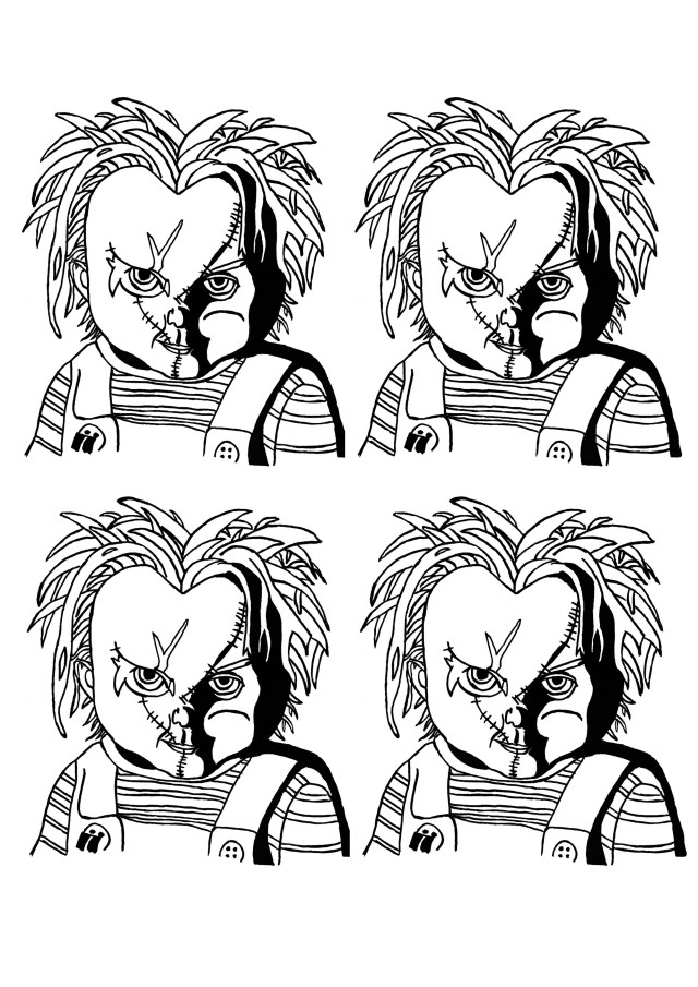 Chucky Coloring Pages Halloween Chucky Warhol Style Portrait Halloween Adult Coloring Pages