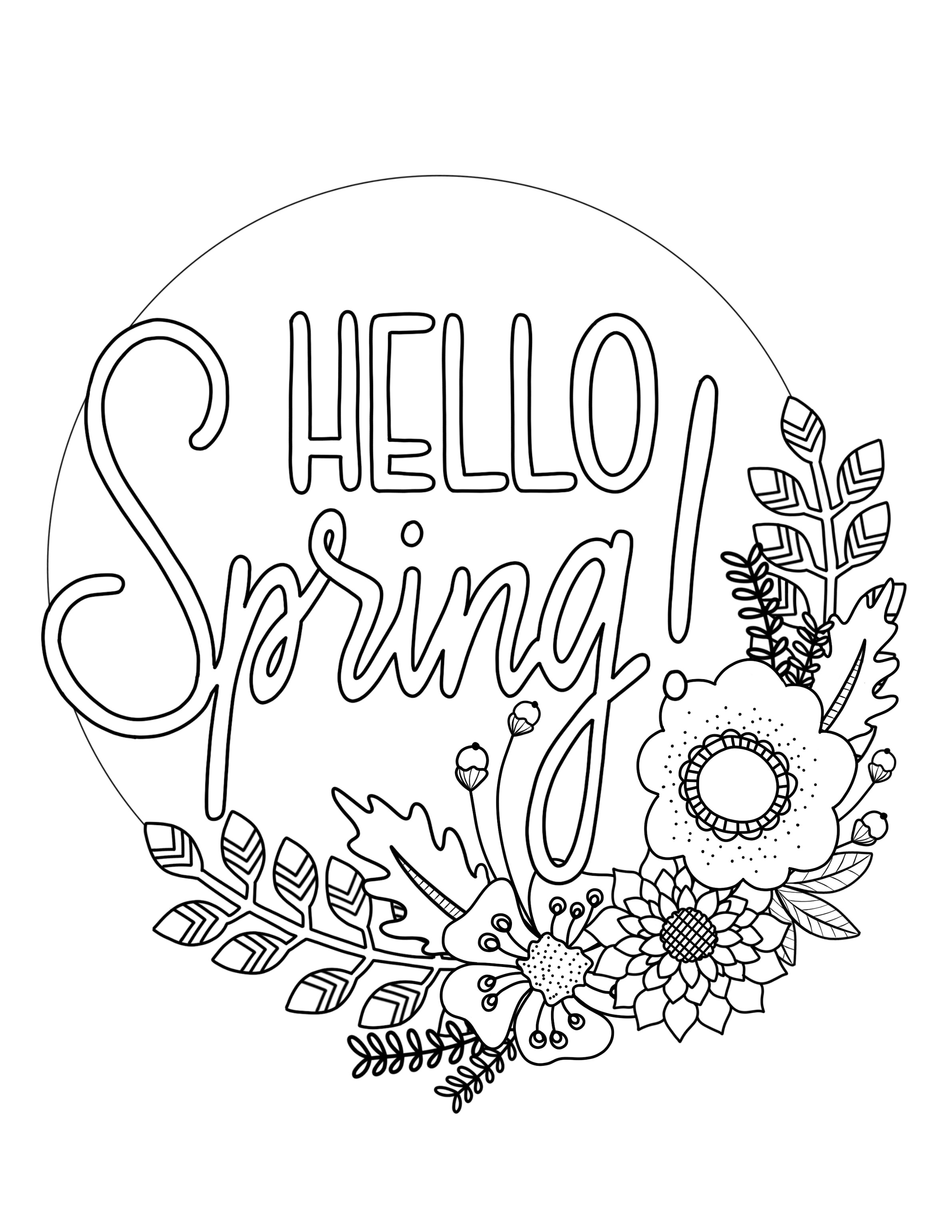 Coloring Pages Spring Printable Spring Coloring Page Over The Big Moon
