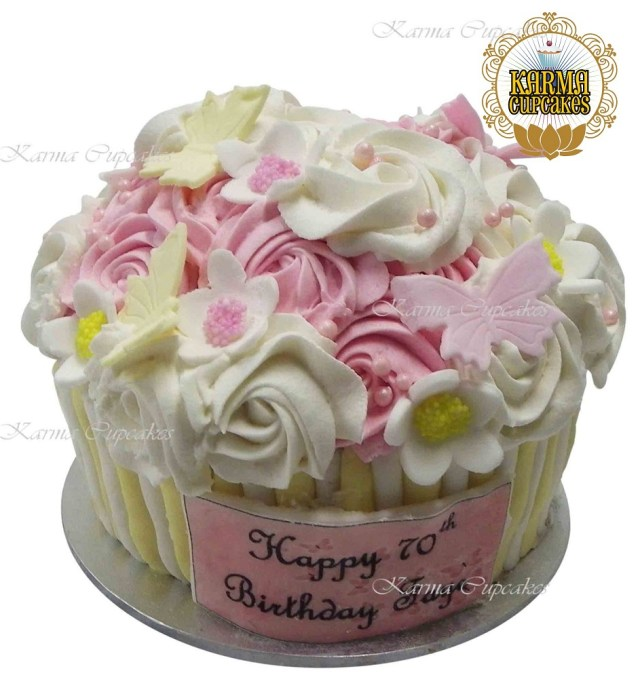 Cupcake Birthday Cake Giant Cupcake With Edible Butterflies And Flowers