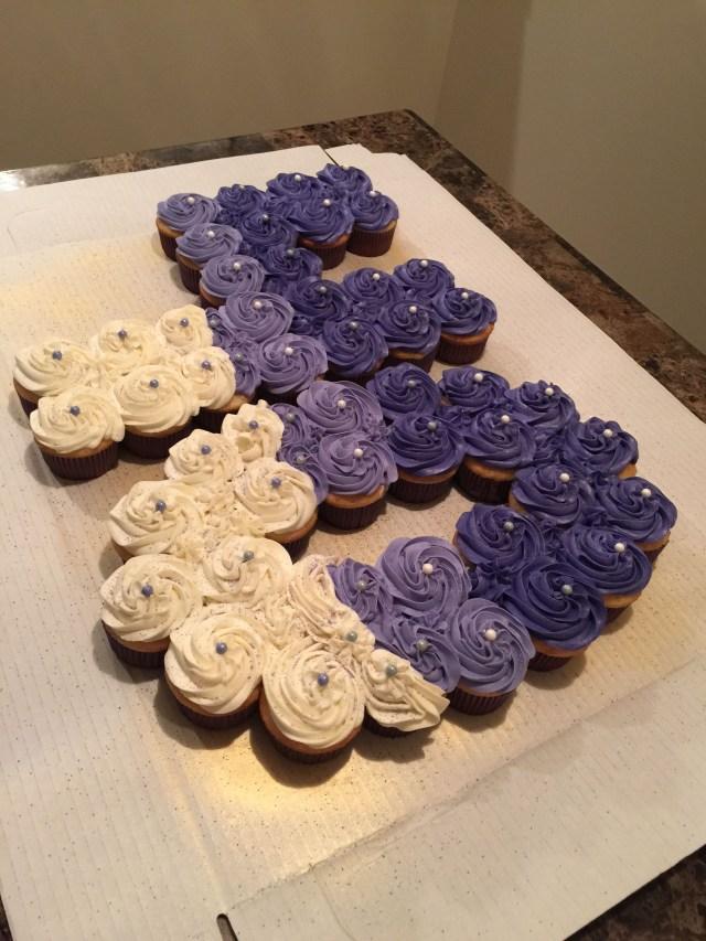 Cupcake Birthday Cake Number 40 Cupcake Cake Ms Ragins Sweets Pinterest Cupcakes