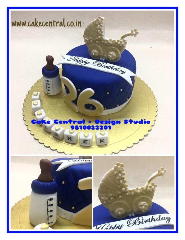 Designer Birthday Cakes Cute Golden Blue Designer Birthday Cakes For Boyfriend Or Husband