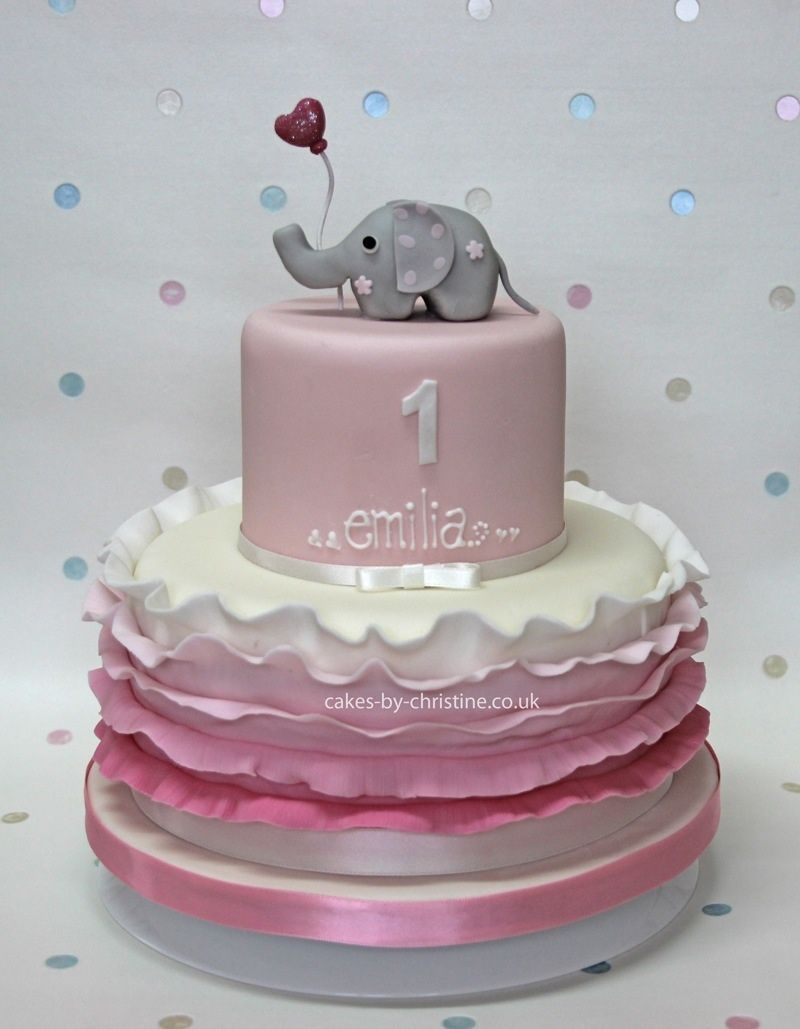 Elephant Birthday Cakes Images Of Rosebud And Ruffles Cake For A Little