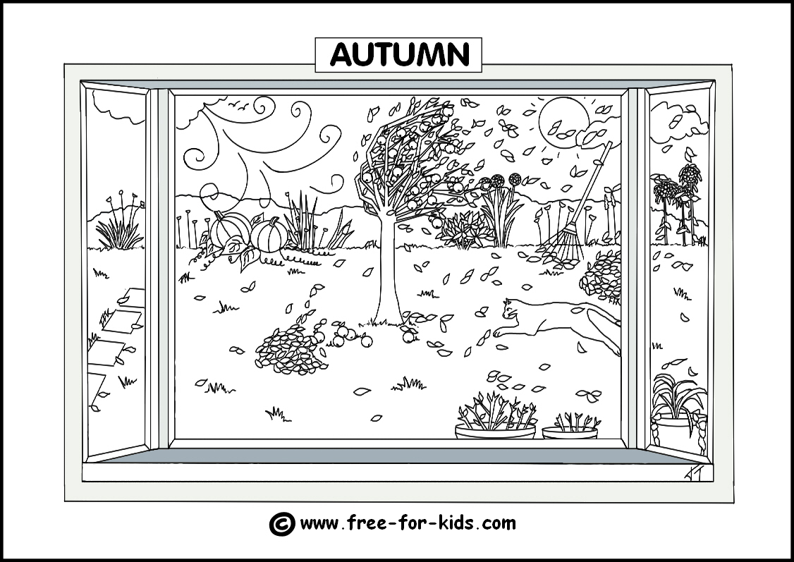 Fall Tree Coloring Pages Seasons Colouring Pages