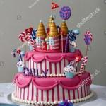 Fancy Birthday Cake Fancy Birthday Cake Candyland Theme Three Stockfoto Jetzt