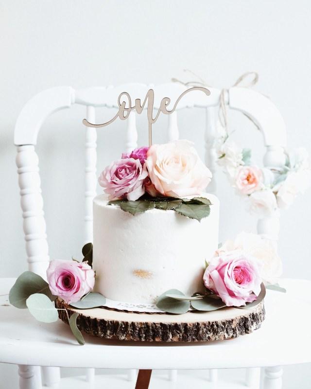 First Birthday Cake Topper Semi Naked Cakefloral 1st Birthdayboho 1st Birthdayfirst Birthday