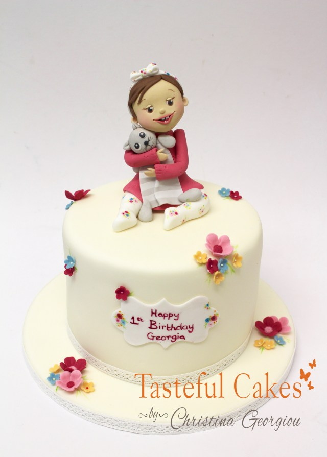 First Birthday Cakes For Girls Tasteful Cakes Christina Georgiou Girls 1st Birthday Cake With