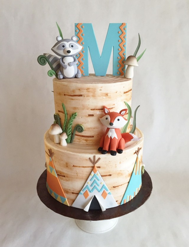 Fox Birthday Cake Birthday Cake Buttercream Birch Tree Custom Toppers
