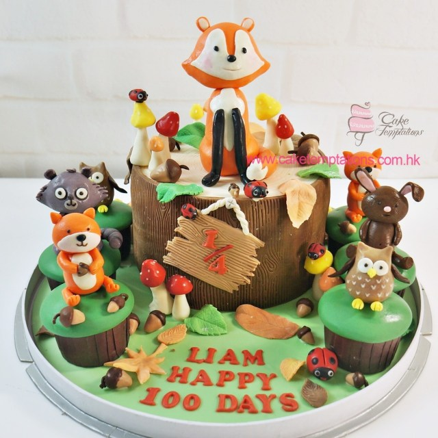 Fox Birthday Cake Little Forest Fox Birthday Cake Set 100 Days Hundred Days