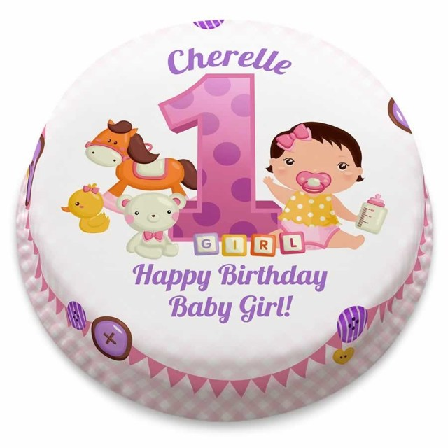 Girls Birthday Cake Personalised Pink First Birthday Girl Cake From 1499