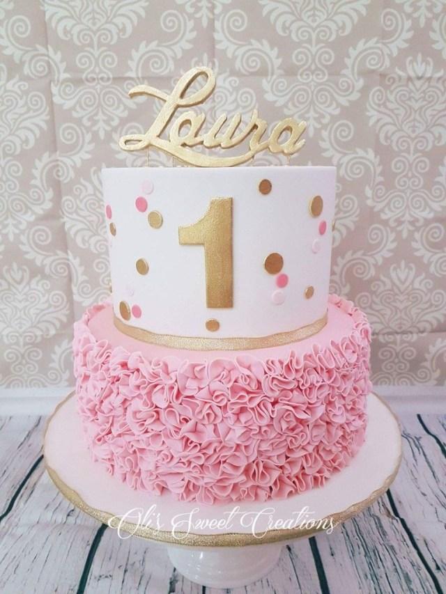 Girls First Birthday Cake First Birthday Cake With Pink And Gold Theme Birthdays