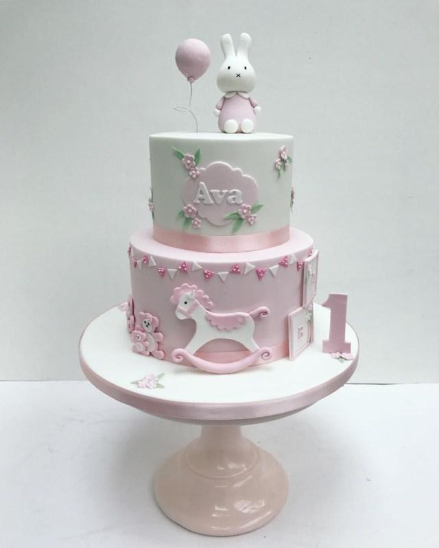 Girls First Birthday Cake Miffy Pink Bunny Cake For Little Girls First Birthday Sweet