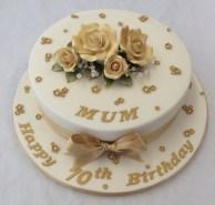 Gold Birthday Cake 10 Round Gold 70th Birthday Cake Adult Birthday Cakes