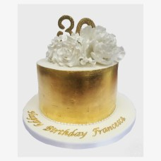 Gold Birthday Cake 30th Gold Birthday Cake With Gold Leaf Roses And Peonies Sweet