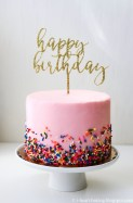 Gold Birthday Cake I Heart Baking Pink Sprinkles Birthday Cake With Gold Birthday Topper