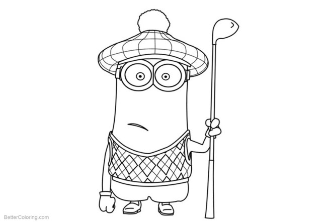 Golf Coloring Pages Minion Coloring Pages With A Golf Club Free Printable Coloring Pages