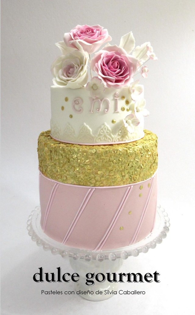 Gourmet Birthday Cakes Roses And Gold Edible Sequins Birthday Cake My Cakes Pinterest
