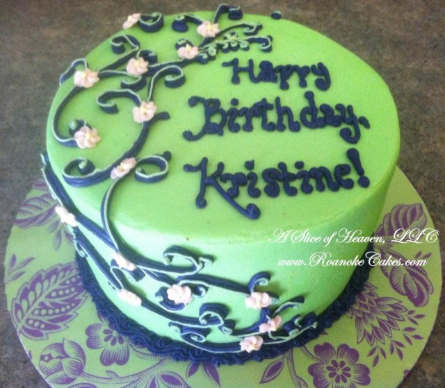 Green Birthday Cake Adult Birthday Cakes Roanoke Cakes A Slice Of Heaven Llc