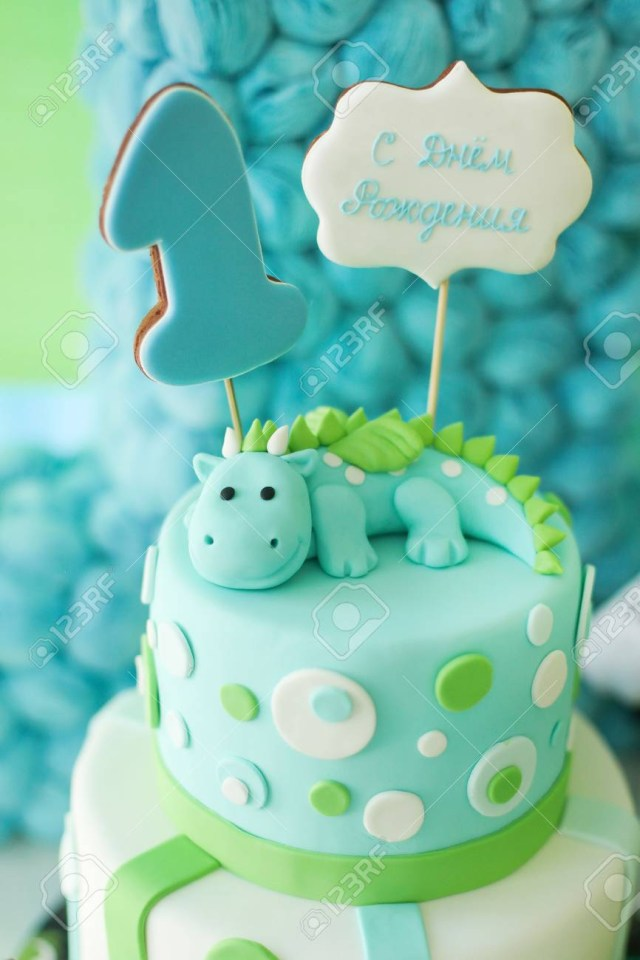 Green Birthday Cake Blue And Green First Year Birthday Cake With Cute Dragon And Stock