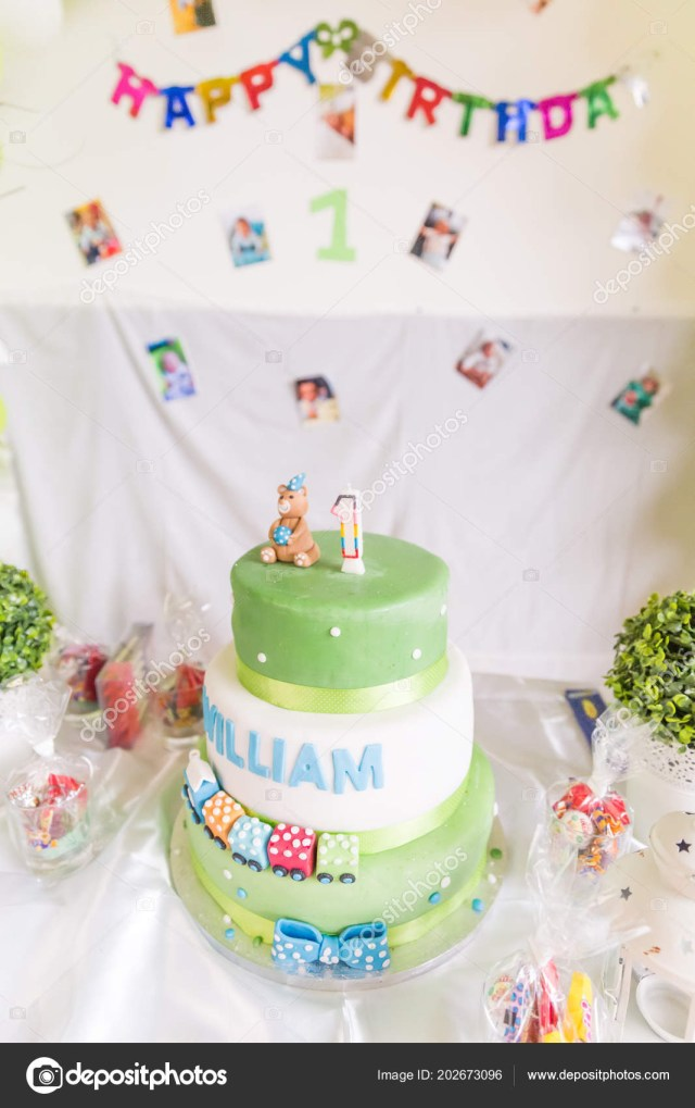 Green Birthday Cake Green White Birthday Cake One Year Old Candle Happy Birthday