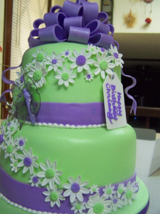 Green Birthday Cake Purple And Green Birthday Cake Cakecentral