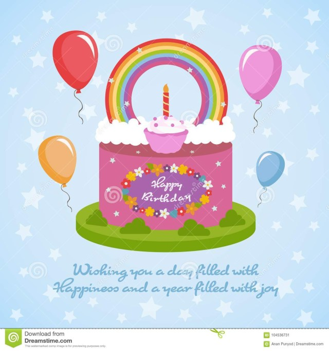 Happy Birthday Cake And Flowers Images Happy Birthday Rainbow Clude Topping Cake And Flowers Balloon On