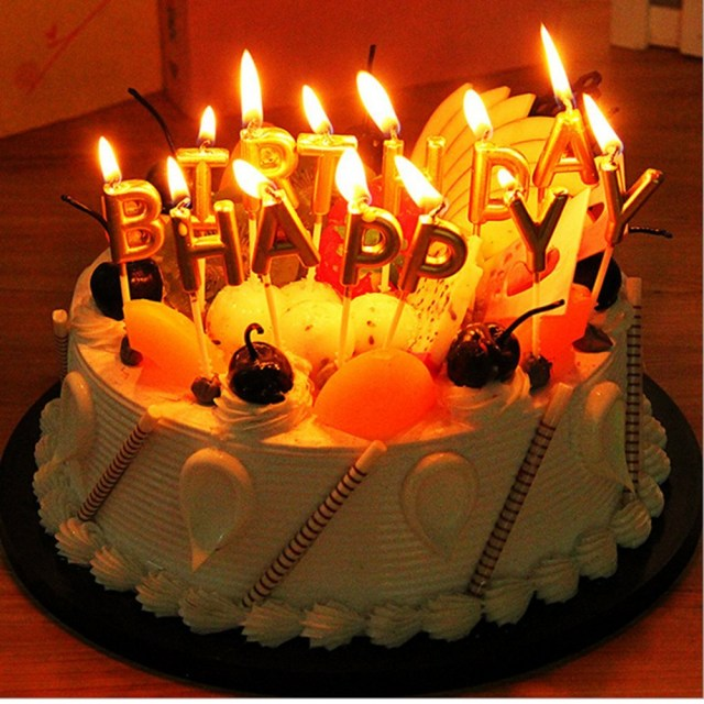 Happy Birthday Cake With Candles Buy Lshcx Gold Letter