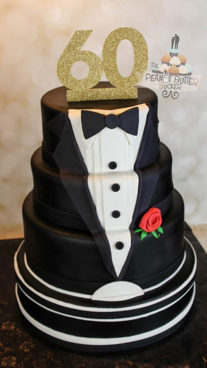 Happy Birthday Cakes For Him 60th Birthday Tuxedo Cake Cake Designs Birthday Cake 60th