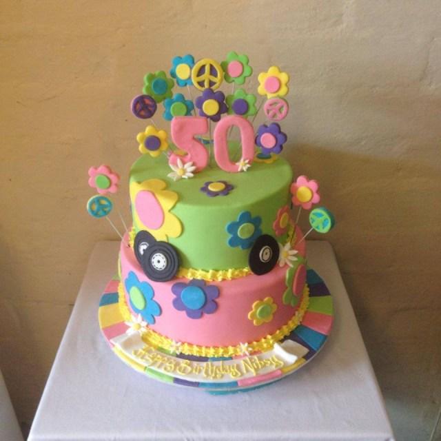 Hippie Birthday Cake 1960s Hippie Birthday Cake Three Sweeties