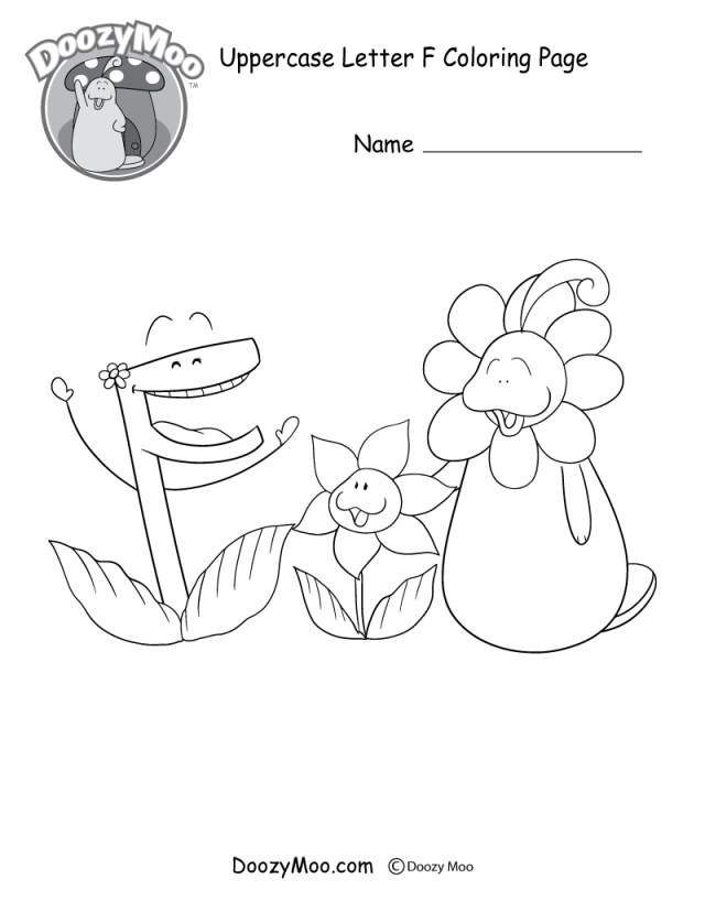 Letter F Coloring Page Cute Uppercase Letter F Coloring Page Free Printable Doozy Moo