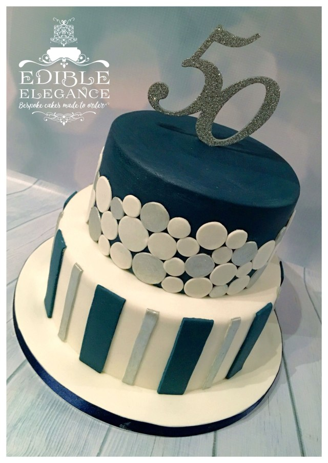 Men Birthday Cakes 50th Birthday Cake Contemporary Design In Masculine Blue White And