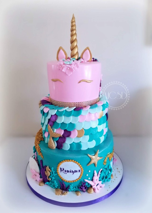 Mermaid Birthday Cakes Mycakesweetdreams Unicorn 1st Cake