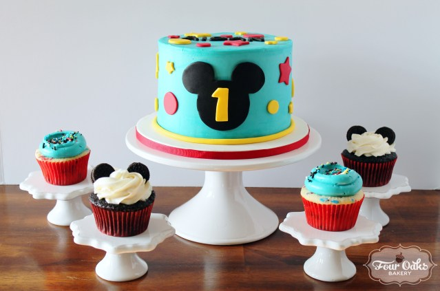 Mickey Mouse First Birthday Cake Mickey Mouse Themed First Birthday Smash Cake And Cupcakes Four