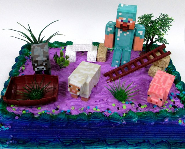Minecraft Birthday Cake Toppers Buy 13 Piece Minecraft Themed Birthday Cake Topper Set Featuring