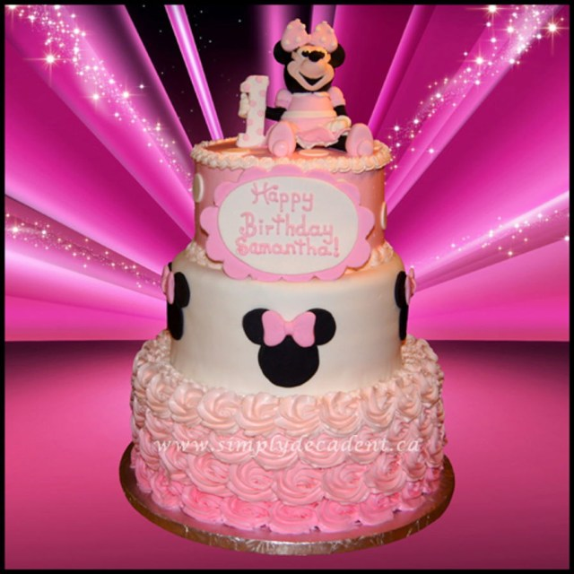 Minnie Mouse 1St Birthday Cake 3 Tier Pink Disney Minnie Mouse 1st Birthday Cake With 3d Hand