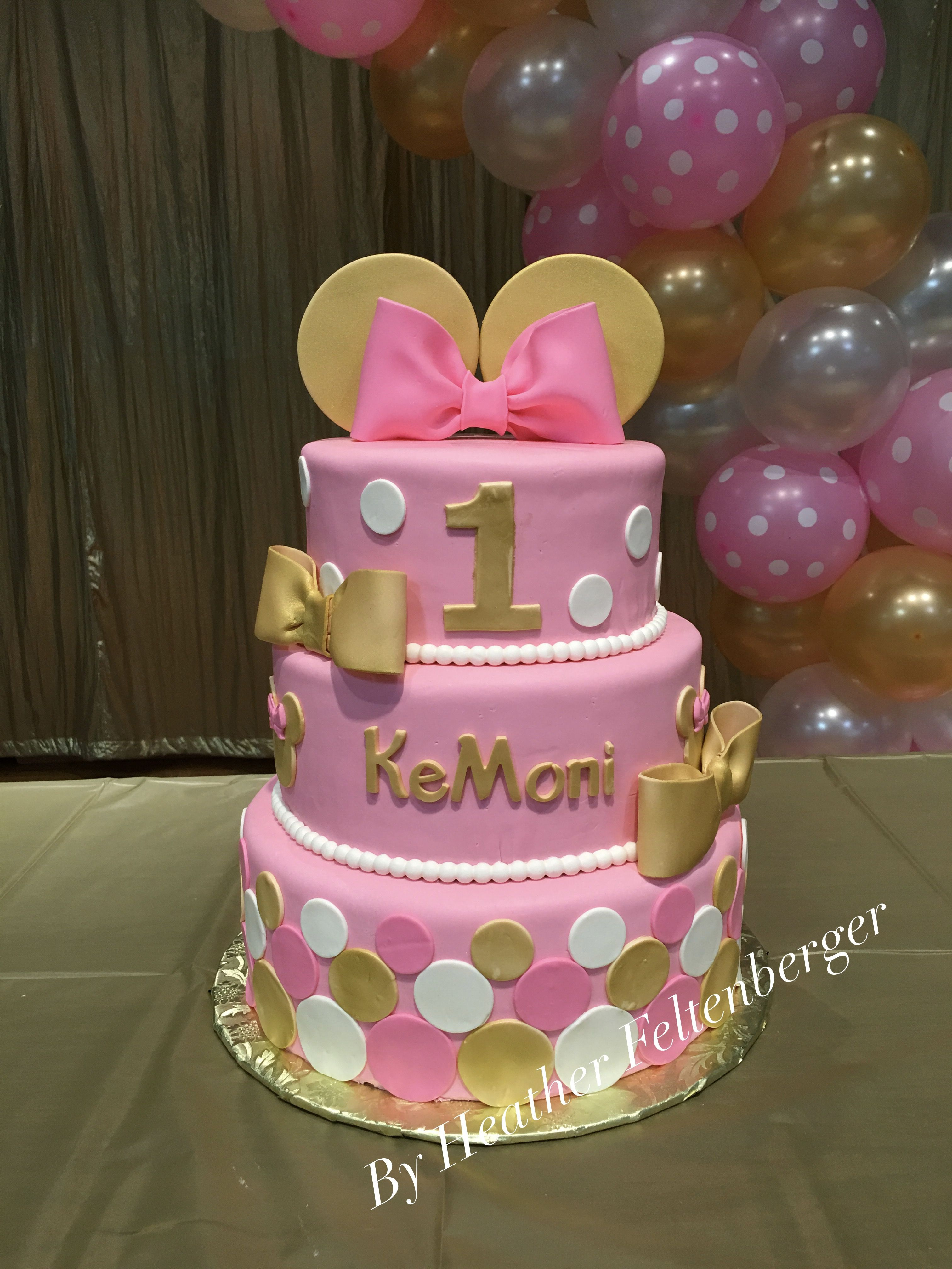 Minnie Mouse 1St Birthday Cake Disney Pink And Gold 3 Tier 1st My