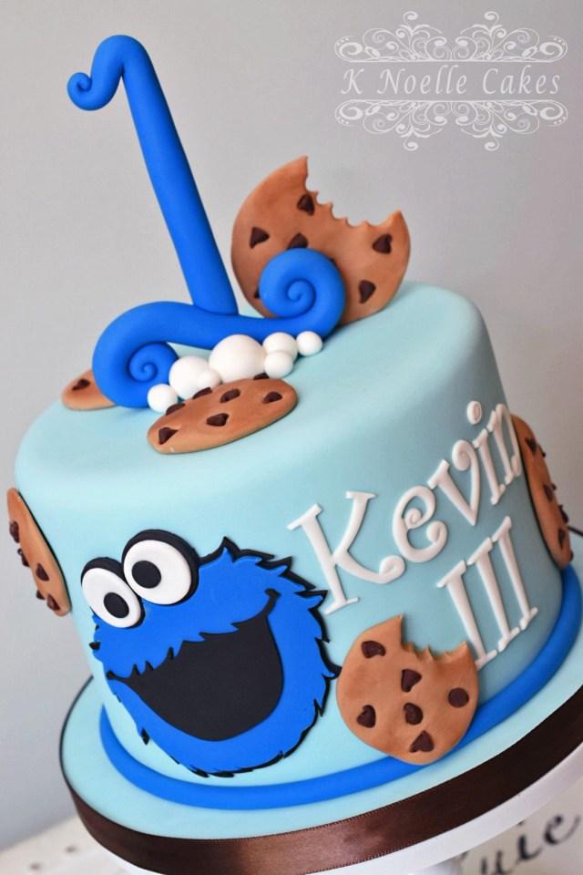 Monster Birthday Cake Cookie Monster Theme 1st Birthday Cake K Noelle Cakes Cakes