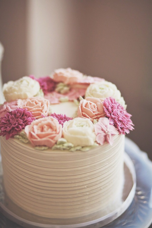 Mother Birthday Cake Rustic Buttercream Cake With Soft Pink And Cream Rose Flowers
