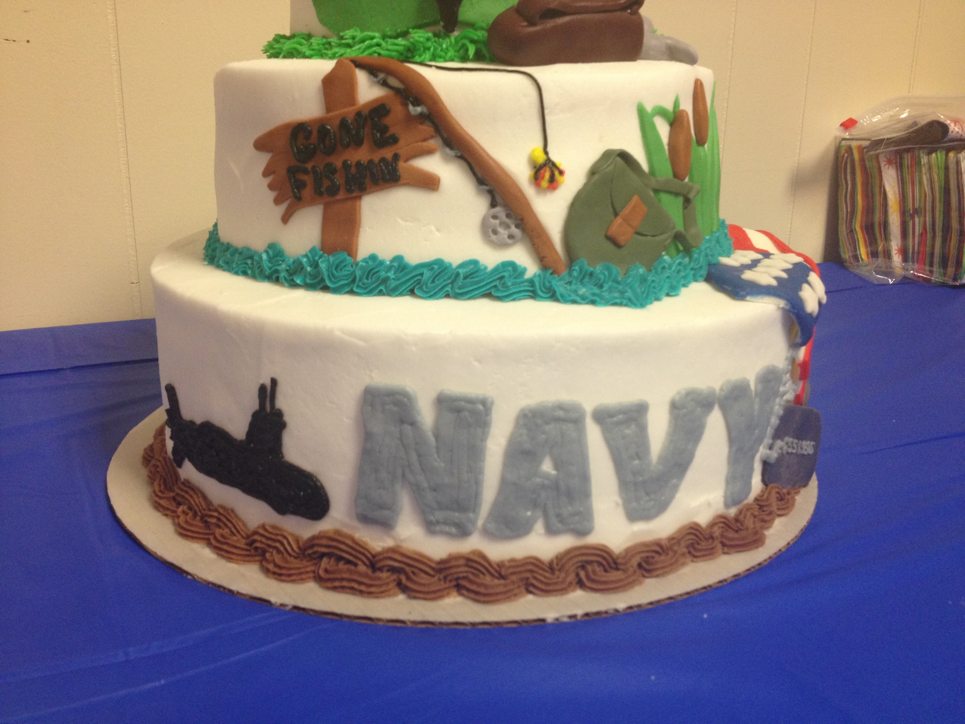 Navy Birthday Cake 90th Birthday Cake With Navy Tier Fishing Tier And Golf Tier
