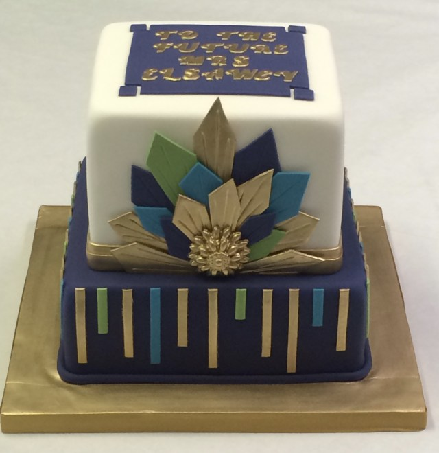 Navy Birthday Cake Two Tier Art Deco Navy And Gold Cake Adult Birthday Cakes