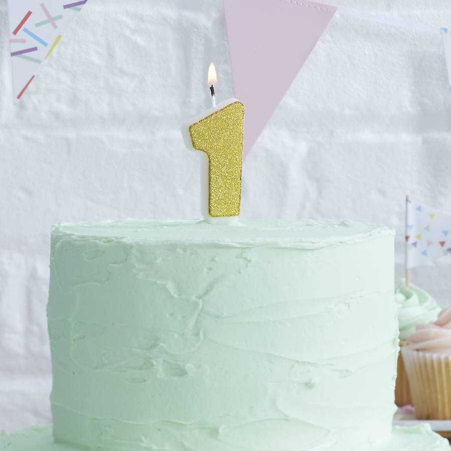 Number Birthday Cakes Gold Glitter Number One Birthday Cake Candle Ginger Ray