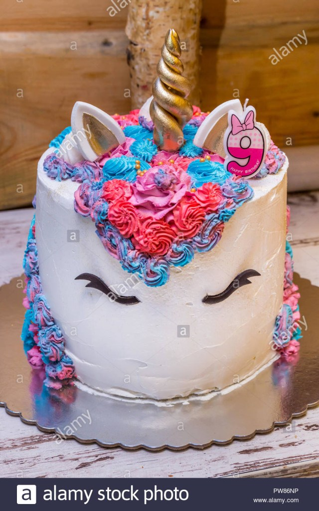 Number Birthday Cakes Unicorn Cake For Little Girls Decorated With Colorful