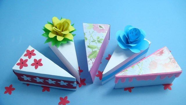 Origami Birthday Cake Origami Cake Slice Box Tutorial Triangular Box How To Make A