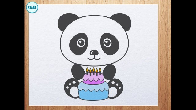 Panda Birthday Cake How To Draw Panda With Birthday Cake Youtube