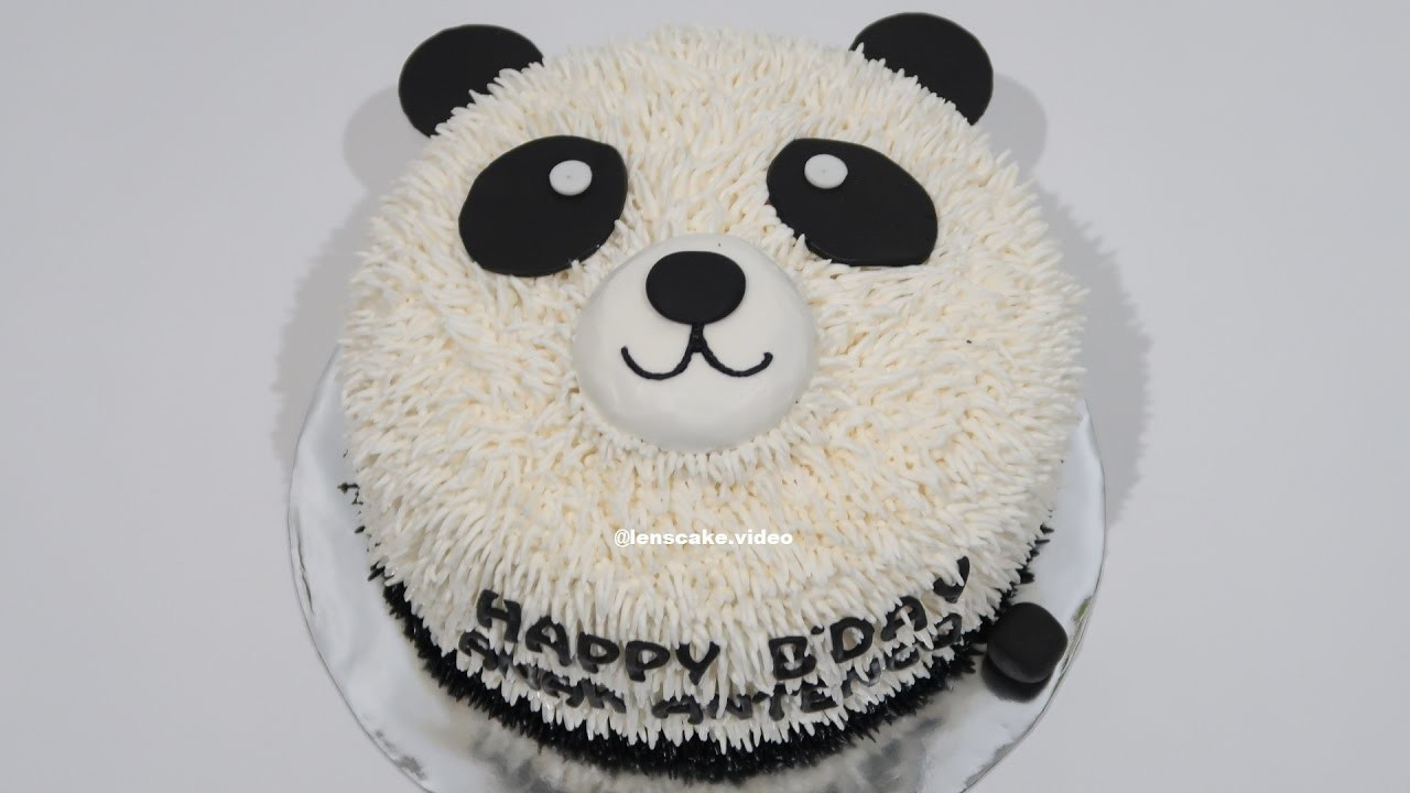 Panda Birthday Cake Without Nozzle How To Make Birthday Cake Easy Panda Cara Membuat