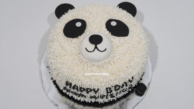 Panda Birthday Cake Without Nozzle How To Make Birthday Cake Easy Panda Cara Membuat