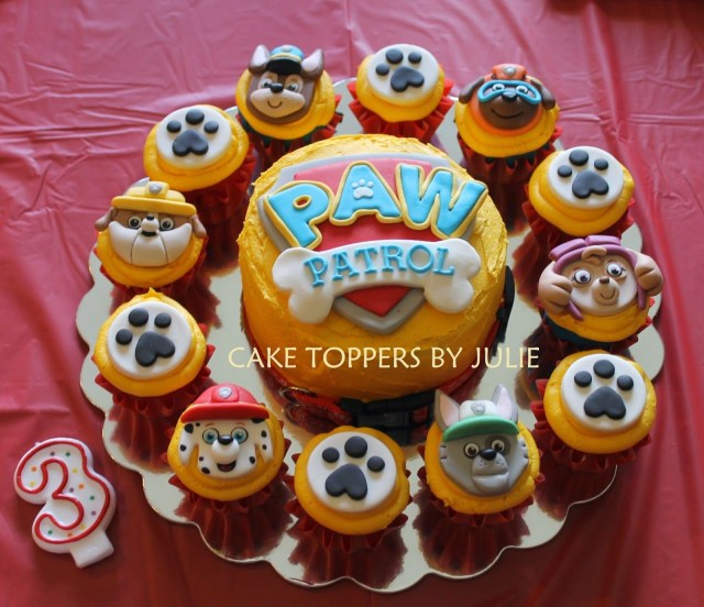 Paw Patrol Birthday Cake Toppers Do As A Giant Cupcake And Regulars W Paw Prints Char Paw Patrol
