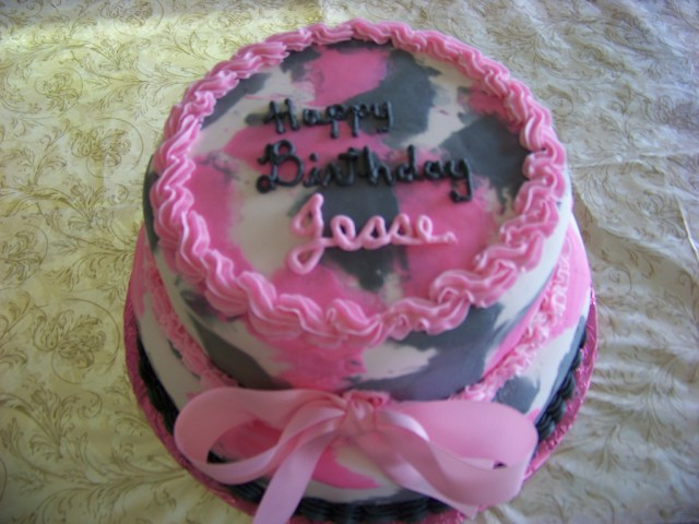 Pink Camo Birthday Cakes Pink Camo Birthday Cake A 2 Tier Fondant Cake Decorated Wi Flickr
