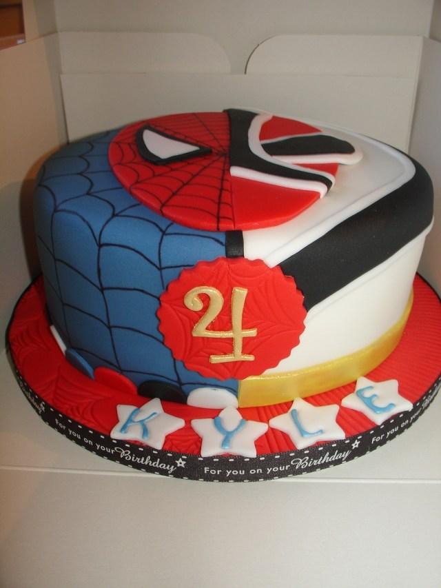 Power Ranger Birthday Cakes Spiderman And Red Samurai Power Rangers Cake Cakecentral