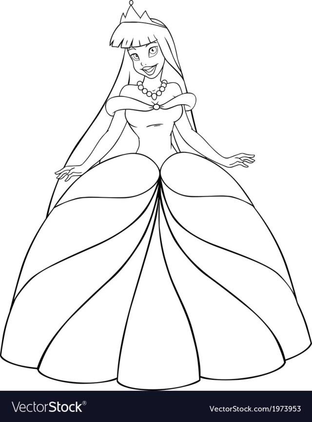 Princess Coloring Page Asian Princess Coloring Page Royalty Free Vector Image
