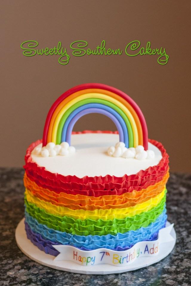 Rainbow Birthday Cakes Rainbow Cake Buttercream Ruffles 5th Birthday Pinterest